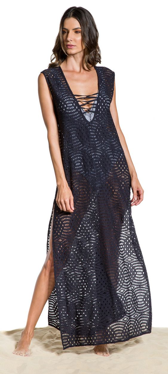 Long black slit beach dress with neckline laced - SAIDA STRAPPY NOITE