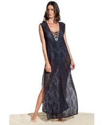 Long black slit beach dress with neckline laced - SAIDA STRAPPY NOITE