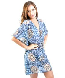 Blue geometric print caftan with lacing - KAFTAN PARATY