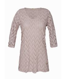 Beige-grey openwork beach dress, 3/4 sleeves - EGEU CHITAQUE