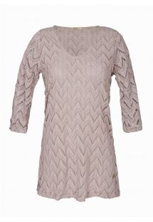 Beige-grey openwork beach dress, 3/4 sleeves - EGEU CHITAQUE