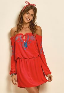 Red and blue cold-shoulder beach dress - RED BOHEMIAN