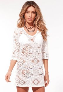 Short mini beach dress with openwork and 3/4 sleeves - RENDA CASHMERE
