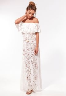 Ecru long off-shoulder dress with openwork - RENDA CIGANINHA