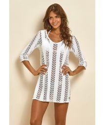 White openwork beach dress with 3/4 sleeves - SAIDA FISH WHITE