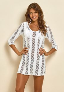 White openwork beach dress with 3/4 sleeves - SAIDA FISH WHITE