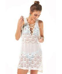 Off-white beach dress withlace-up neckline - SAIDA RENDA
