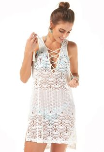 Off-white beach dress with lace-up neckline - SAIDA RENDA