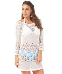 Off-white beach dress with openwork and 3/4 sleeves - SAIDA SANTIAGO