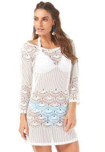 Ecrufarvet strandkjole med gennembrudt mønster og 3/4 ærmer - SAIDA SANTIAGO