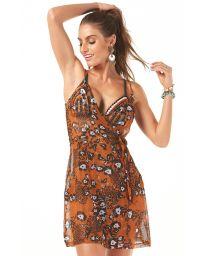 Spaghetti strap animal print beach cover-up dress - SAIDA TRASPASSADA