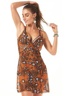 Spaghetti strap animal print beach cover-up dress - SAIDA TRASPASSADA