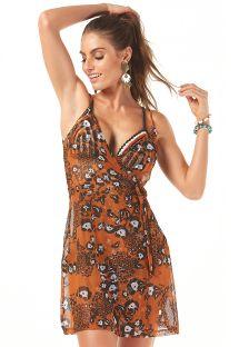 Vestido de praia de alças c/ padrão animal - SAIDA TRASPASSADA