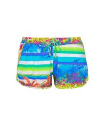 Multicoloured shorts with elastic waistband and pockets - SHORT POP