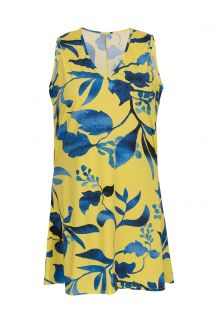 Ärmelloses Strandkleid gelb/blauer Blattprint - DRESS LEMON FLOWER