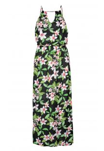 Floral side slit maxi beach dress - JACILANDIA
