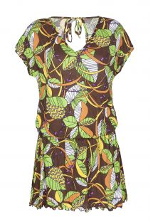 Short African print beach cover-up - OUROANA