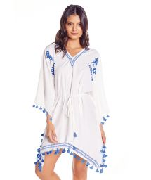 White beach kaftan with blue pom poms - ARENA PONCHO