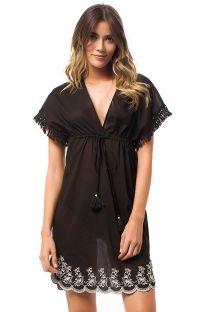 Пляжное прозрачное черное платье с вышивкой внизу- BARU DRESS