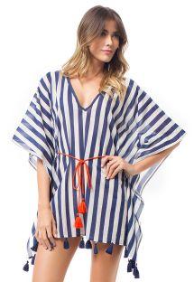 Платье-кафтан в полоску темно-синего/белого цвета с оранжевым шнурком - BEMBE KAFTAN