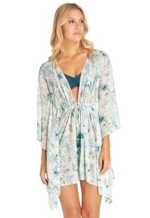 Blue floral kaftan with embroidered neckline - CABO BLOSSOM