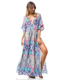Maxi beach dress ethnic style high cut slit - CANOA DRESS
