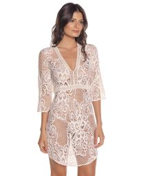 3/4 sleeve white lace beach dress - CINTO TUNIC OFF WHITE
