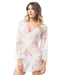 Long-sleeved white lace kaftan - COSTA DRESS