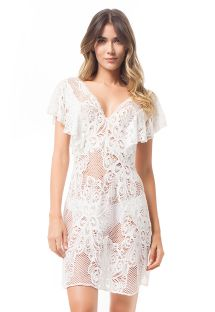Short white lace dress with flounce sleeves - MAPALE DRESS