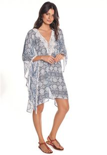 Printed beach dress with embroidered neckline - Marina Sand trace