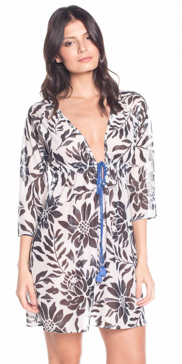 Beach dress in floral print with blue ties - PANAMA CITY