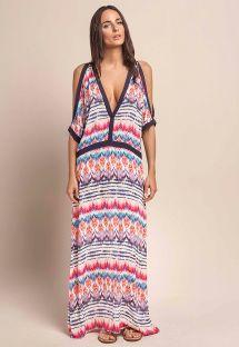 Длинное пляжное платье в этнических мотивах с обнаженными плечами - RYTHM LONGA