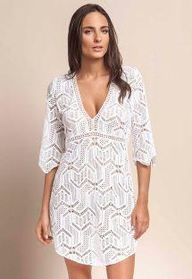 Sukienka plażowa z białej koronki, odkryte plecy - RYTHM WHITE