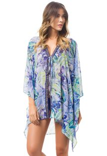 Floral print caftan with blue and gold braid detail - SELVATIC KAFTAN