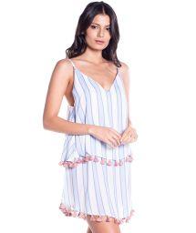 Strandklänning i tvåfärgade ränder med pompoms - VELA SHORT DRESS