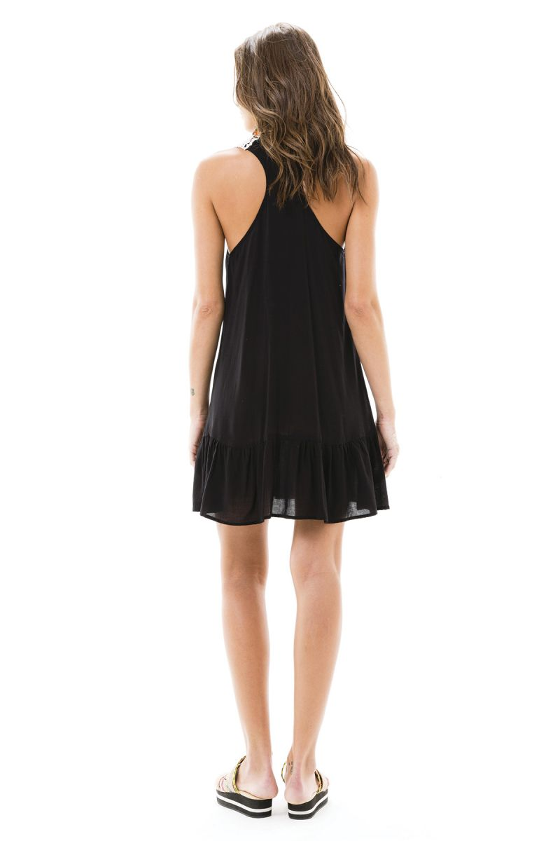 Black/white dual fabric dress with embroidery - BLACK DRESS
