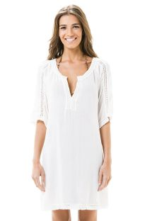 White beach caftan with fringed sleeves - CANOA