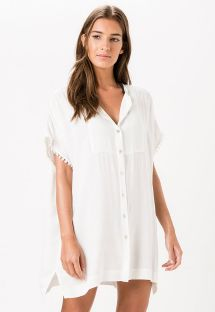 White beach dress shirt with fringed edges - KILAUEA