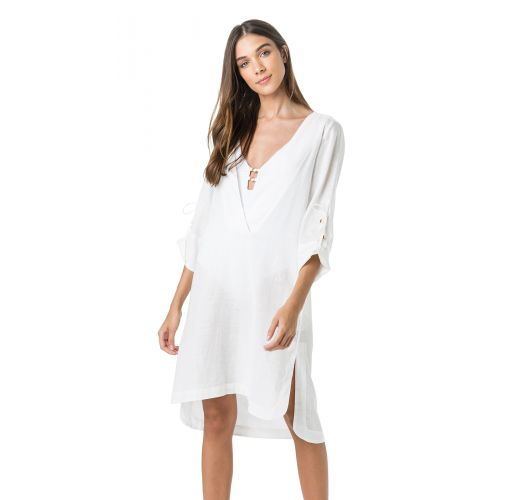 V neck white beach dress 3/4 sleeve - TUNICA MIDI BRANCO