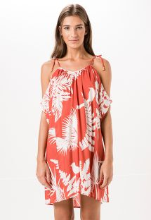 Two-tone tropical loose-fitting beach dress - VIANA