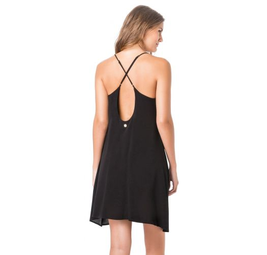 Black beach dress with crossed back - WALLET LISO PRETO