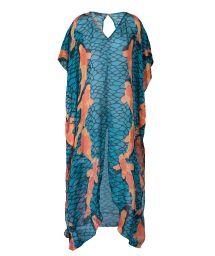 Long blue silk dress with orange fish - DRESS CARPAS AZUL