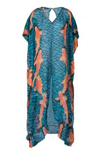 Long blue silk dress with orange fish - DRESS CARPAS AZUL