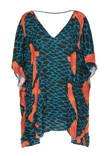 Blue and orange kaftan, with a V neck at front and back - KAFTAN CARPAS
