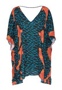 Áo choàng màu xanh và cam, kiểu cổ khoét chữ V cả đằng trước và sau lưng - KAFTAN CARPAS