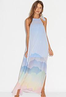 Vestido comprido de praia c/ padrão pastel - LONG DRESS