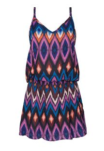 Little ethnic-style pink and blue beach dress - PHI VERANO