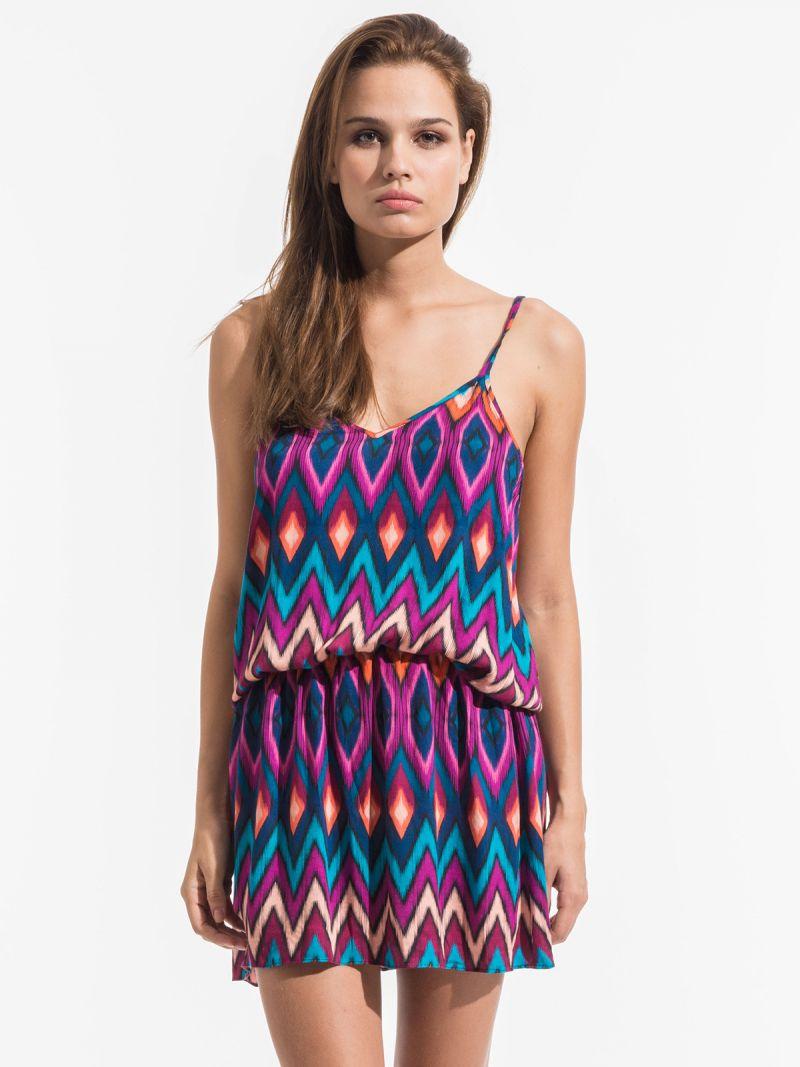 Kurzes Strandkleid im ethnischen Stil in Rosa und Blau - PHI VERANO