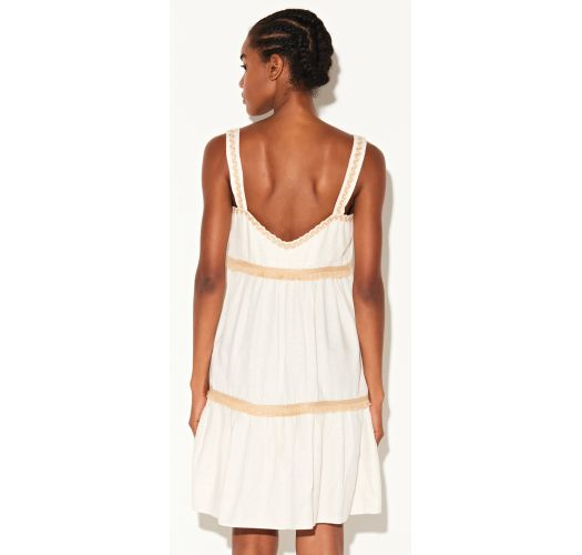 Luxury cream beach dress with fringed trims - VESTIDO MARROM