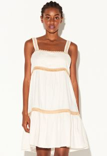Luxury cream beach dress with fringed trims - VESTIDO MARROM